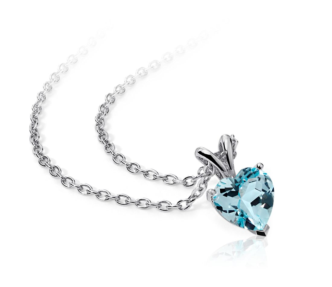 Sky Blue Topaz Heart Pendant in Sterling Silver (8mm)