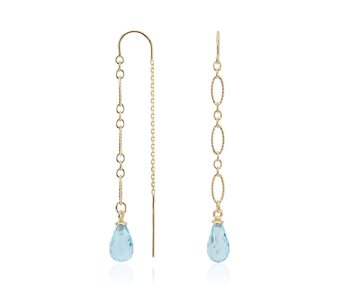 Sky Blue Topaz Delicate Thread Earrings in Gold Vermeil