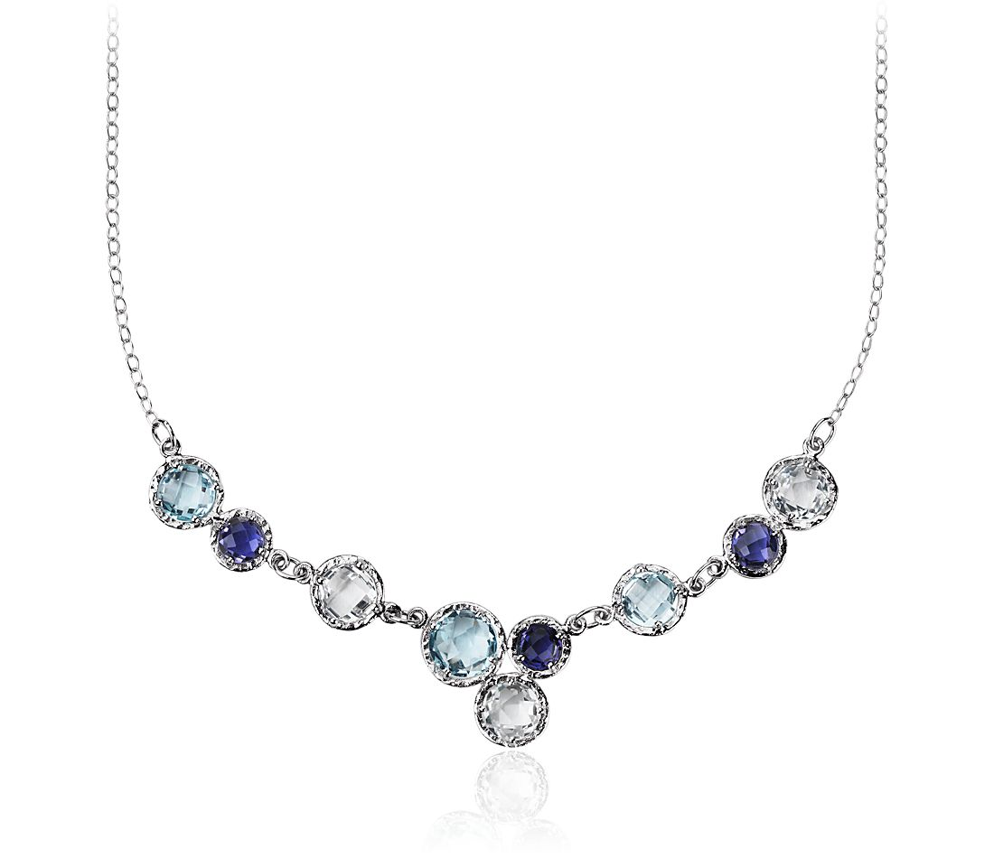 Sky Blue Topaz, White Topaz, and Iolite Bib Necklace 14k White Gold