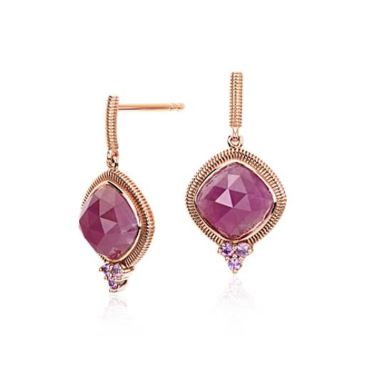 Sloane Street Ruby and Pink Sapphire Earrings in 18k Rose Gold