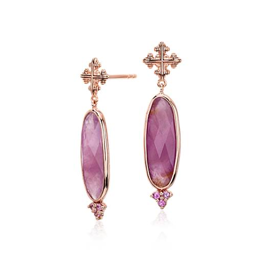 Sloane Street Elongated Ruby and Pink Sapphire Earrings in 18k Rose Gold