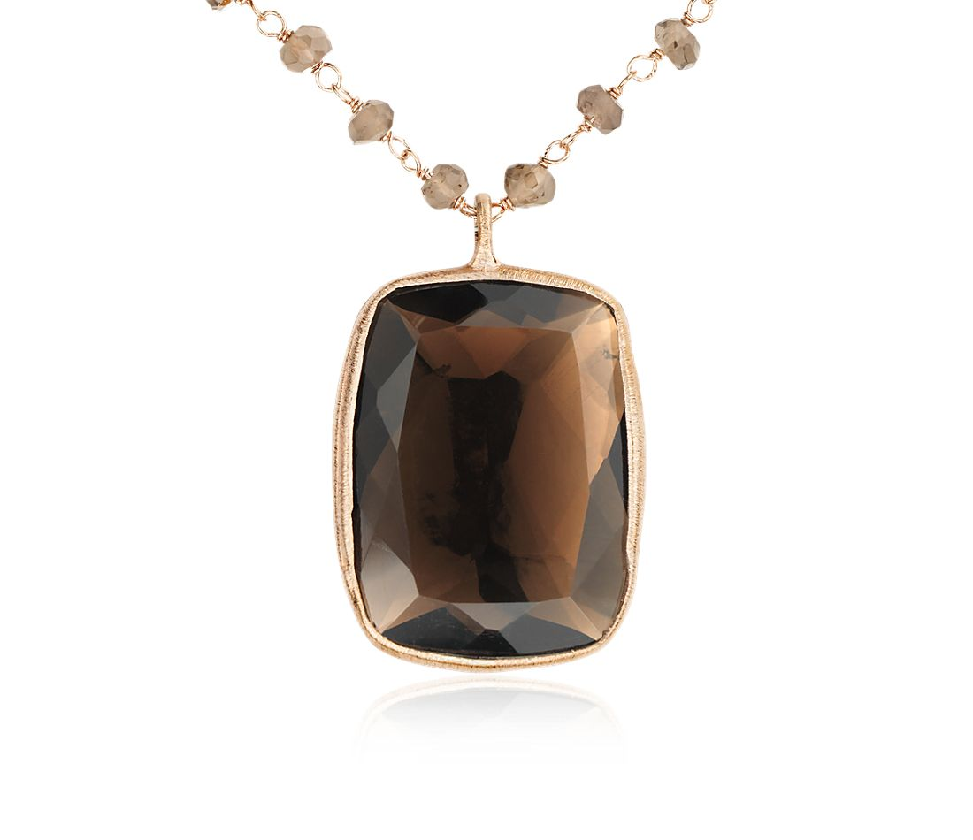 Smokey Quartz Necklace in 18k Yellow Gold Plated Sterling Silver