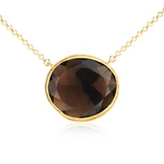 Smokey Quartz Necklace in 18k Yellow Gold Vermeil