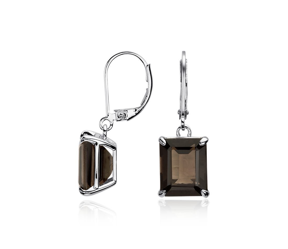 Smokey Quartz Rectangular Earrings in Sterling Silver