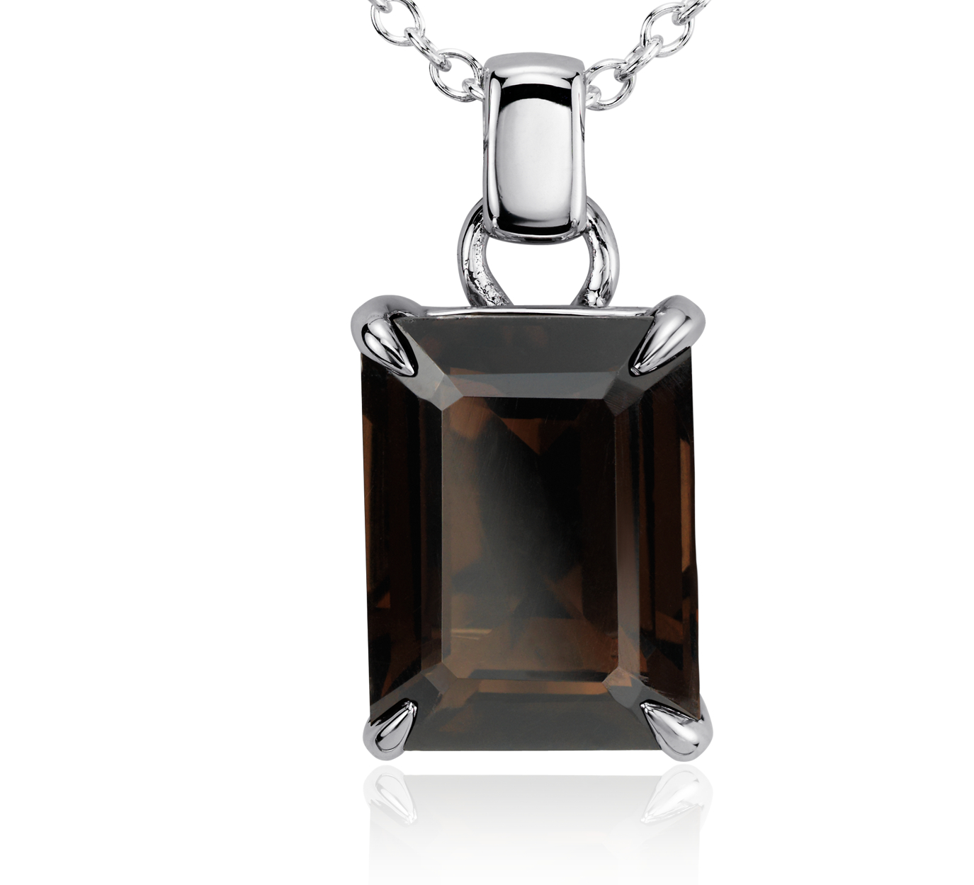 Smokey Quartz Rectangular Pendant in Sterling Silver