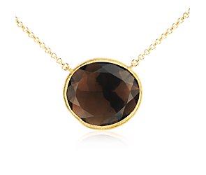 Smoky Quartz Necklace in Gold Vermeil