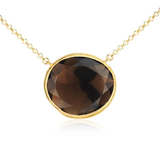 Smoky Quartz Necklace in Gold Vermeil