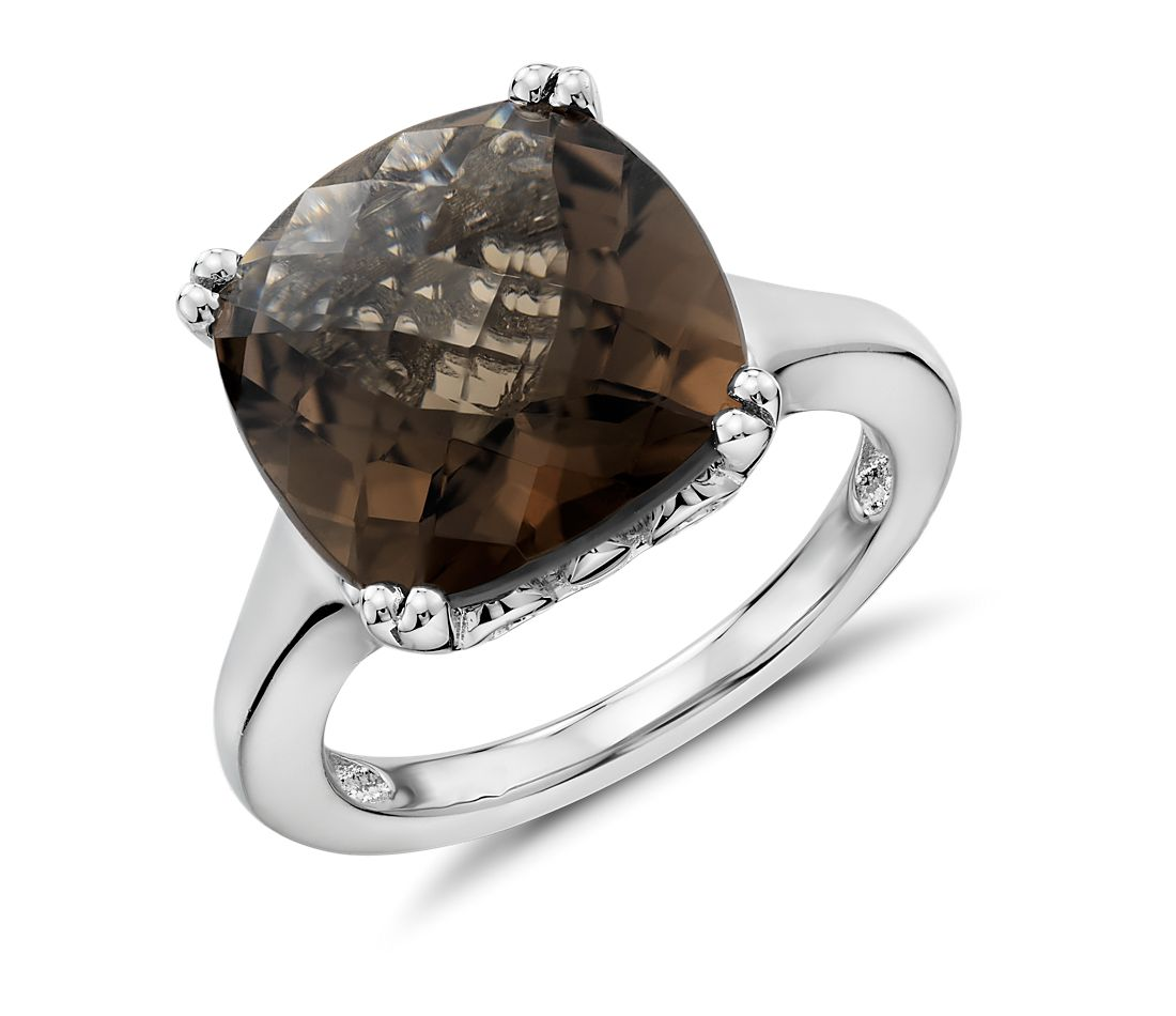 Smoky Quartz Cocktail Ring in Sterling Silver
