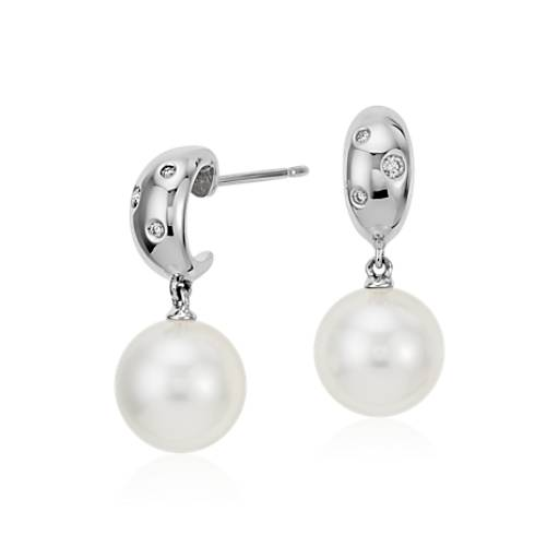 South Sea Cultured Pearl and Diamond Earrings in 18k White Gold (9.5mm)