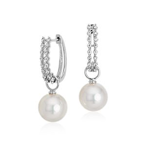 South Sea Cultured Pearl and Diamond Hoop Earrings in 18k White Gold (9-9.5mm)