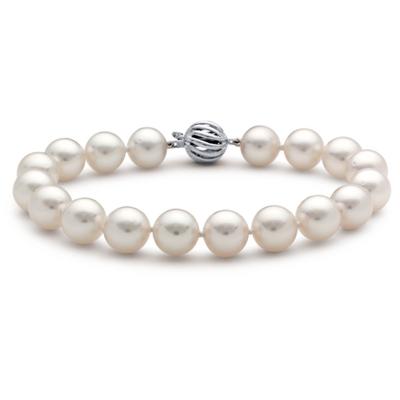 Brazalete de perlas cultivadas de los mares del Sur con oro blanco de 18k (9,0-9,5mm)