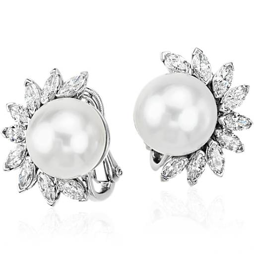 South Sea Pearl and Diamond Earrings in Platinum (13mm)