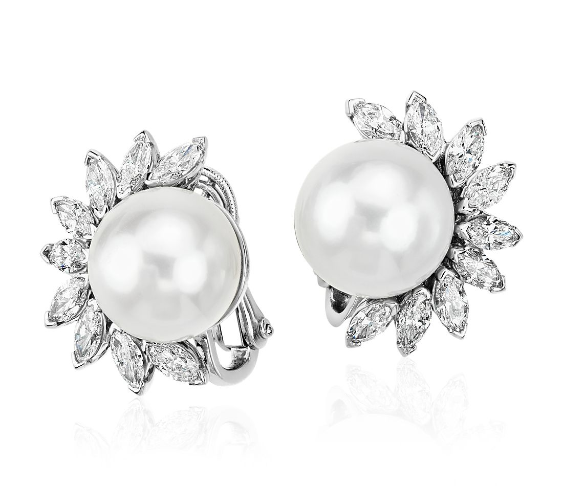 South Sea Pearl And Diamond Earrings In Platinum 13mm