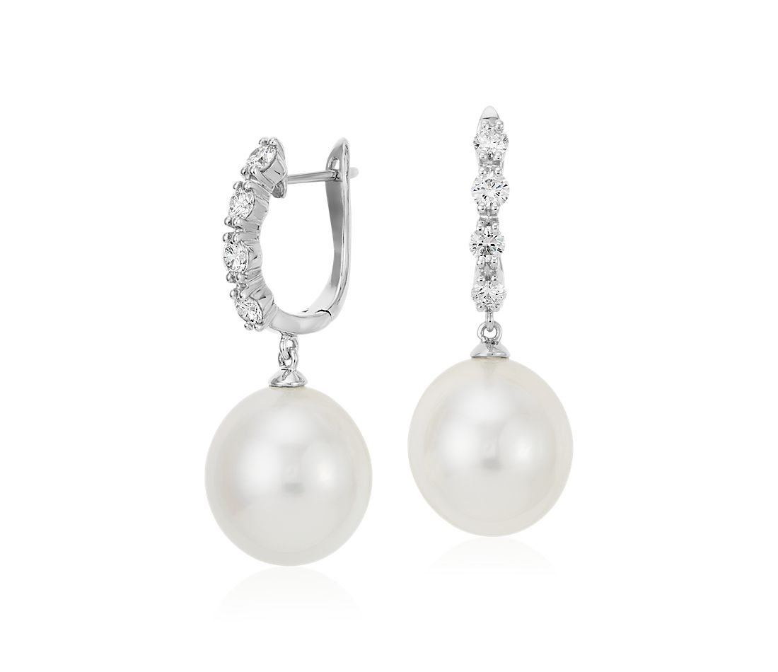 South Sea Cultured Pearl and Diamond Earrings 18k White Gold