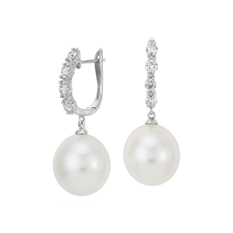 Boucles d'oreilles diamant et perle de culture des mers du Sud en or blanc 18carats (13mm)