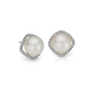 Aretes con halo de diamantes y perlas cultivadas del mar del Sur en oro blanco de 18k (9,0-9,5mm)