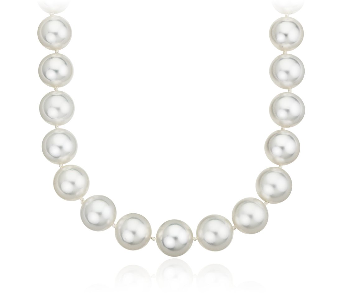 Collier de perles des mers du Sud avec fermoir illusion en or blanc 14 carats (10,2 - 12,4 mm)