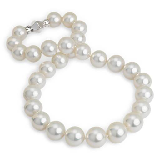 NEW White South Sea Cultured Pearl Strand with Ball Clasp in 18k White Gold (13.1-16.1mm)