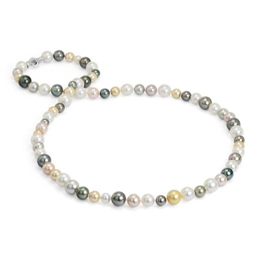 NOUVEAU Collier de perles de culture multicolores des mers du Sud  avec or blanc 18 carats - 91,44 cm de long (8,6-13,7 mm)