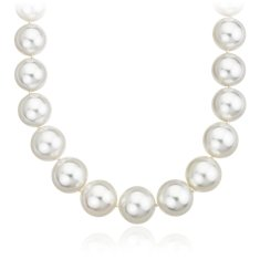 South Sea Pearl Strand Necklace with Diamond Clasp in 18k White Gold (12-15mm) 3 ct. tw.