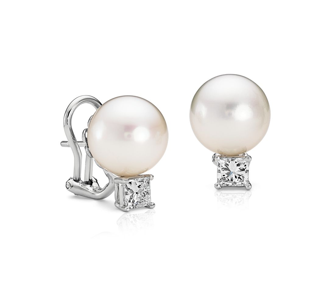 South Sea Cultured Pearl and Diamond Earrings in Platinum