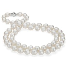 Baroque South Sea Cultured Pearl Strand Necklace with Fermoir en diamant in Or blanc 14 ct (12-13,5 mm) 91,4cm
