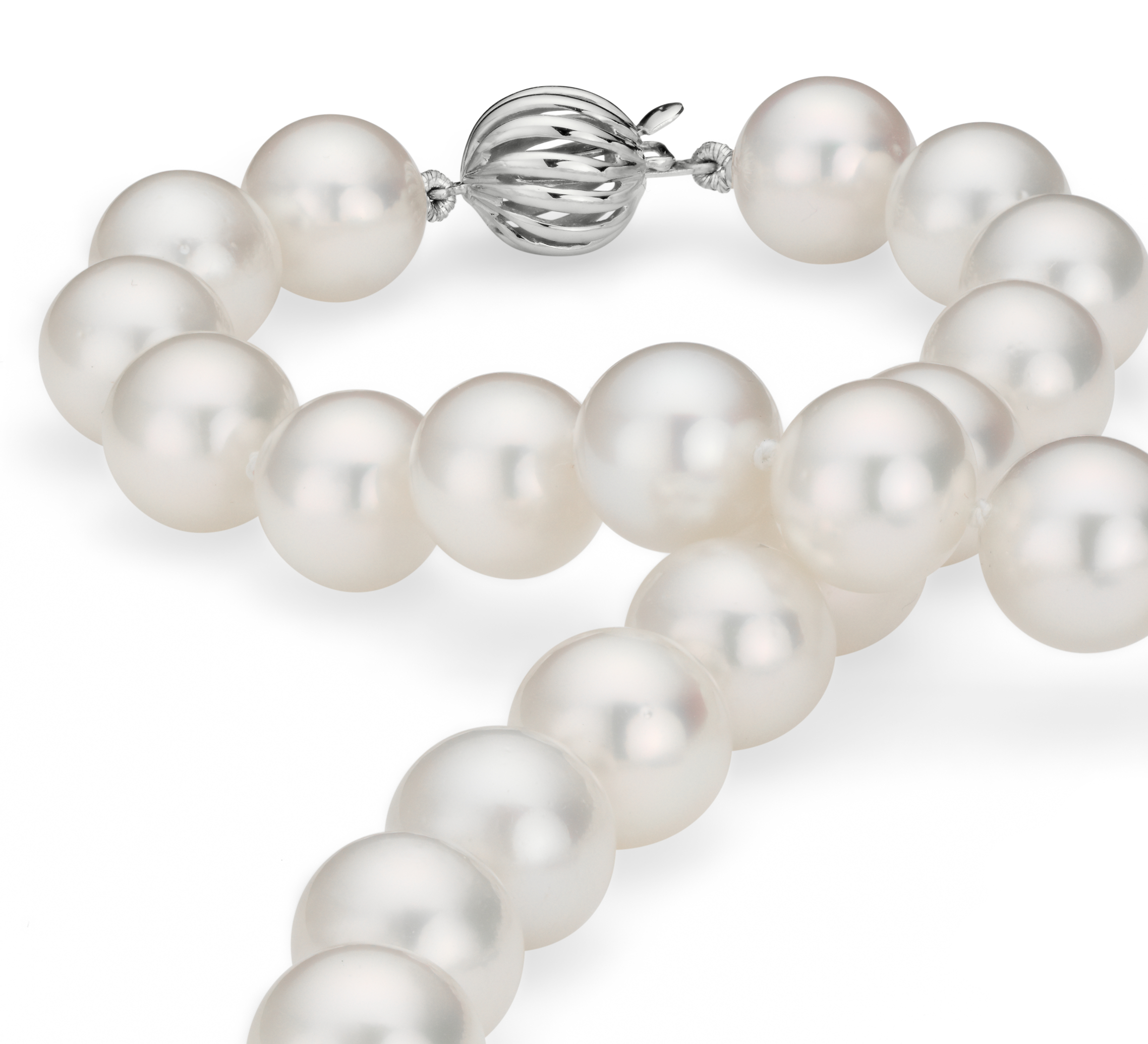South Sea Cultured Pearl Strand Necklace in 18k White Gold (10-12.2mm)