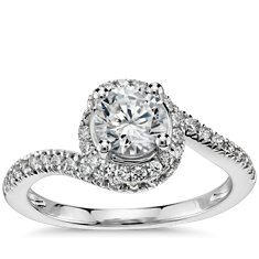 Spiral Halo Pavé Diamond Engagement Ring in 14k White Gold (1/2 ct. tw.)