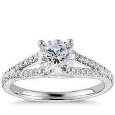 Split Shank Trellis Engagement Ring in 14k White Gold