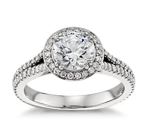 Split Shank Halo Engagement Ring in Platinum