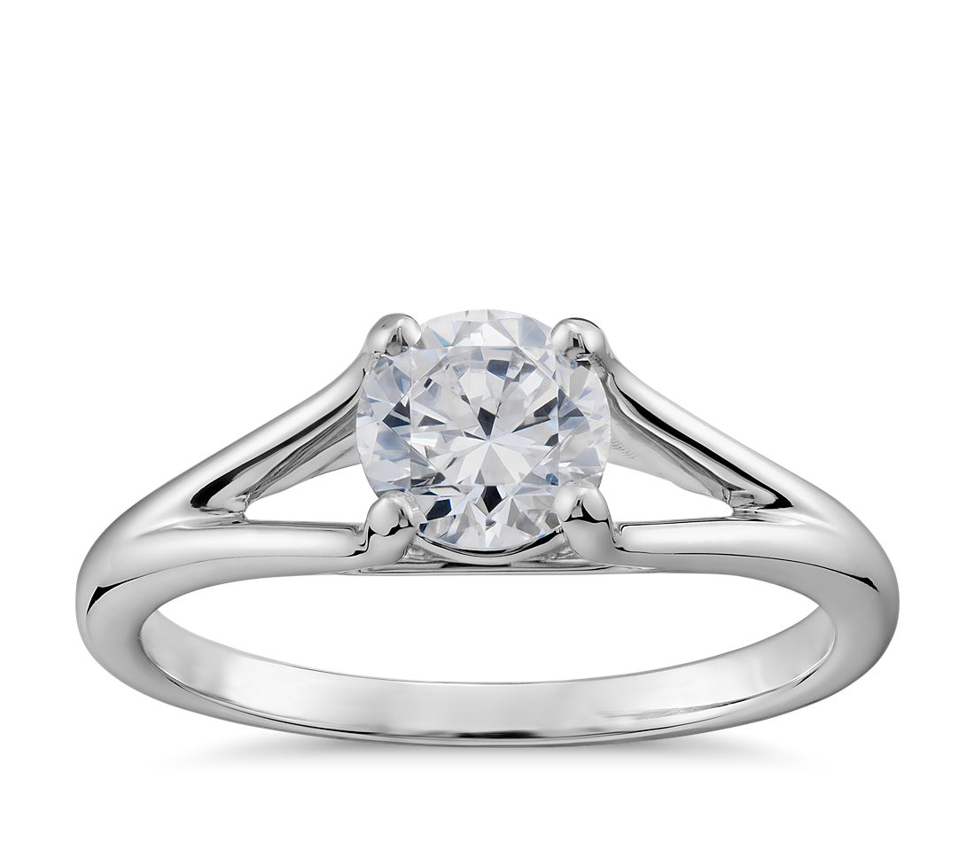 Split Shank Solitaire Engagement Ring in 14k White Gold