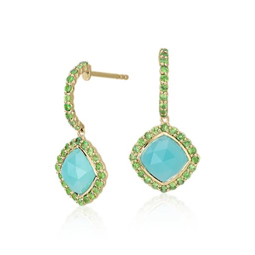 Frances Gadbois Aqua Chalcedony and Tsavorite Halo Earrings in 18k Yellow Gold (7x7mm)