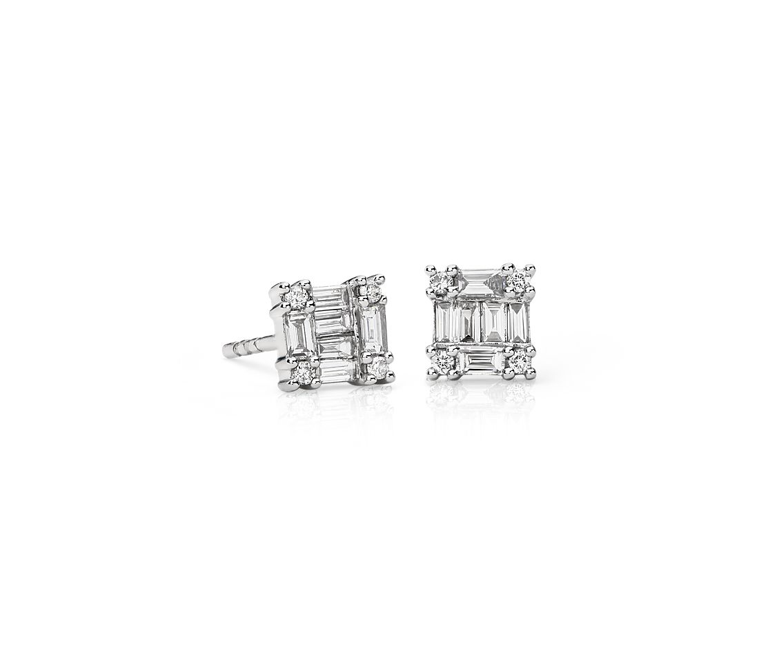 Square Diamond Earrings in 14k White Gold (1/3 ct. tw.)