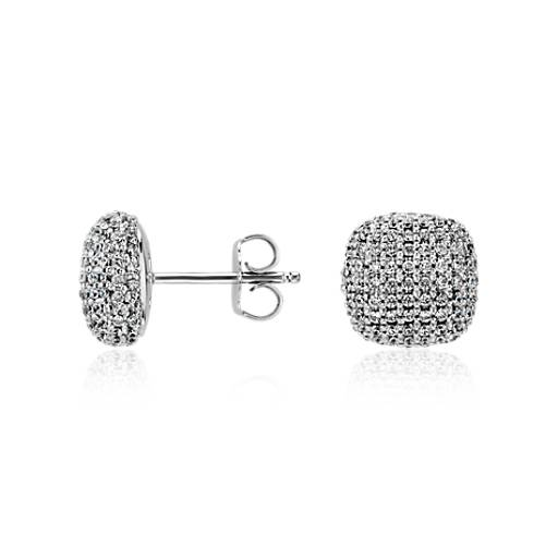 Cushion Micropavé Diamond Earrings in 14k White Gold