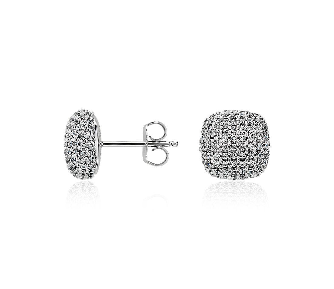 Boucles d'oreilles en diamants taille coussin sertis micro-pavé en or blanc 14carats