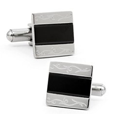 Stainless Steel and Black Resin Cuff Links