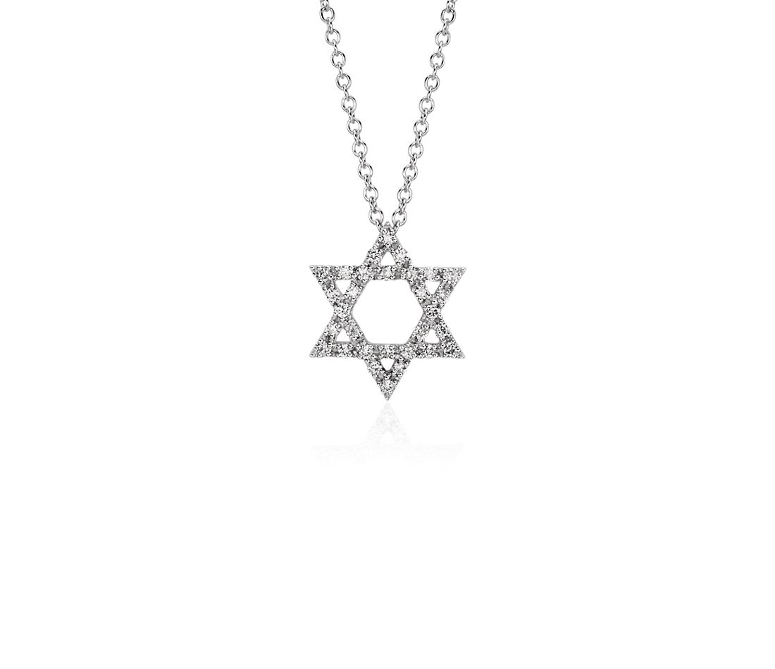 Star of David Diamond Pendant in 14k White Gold