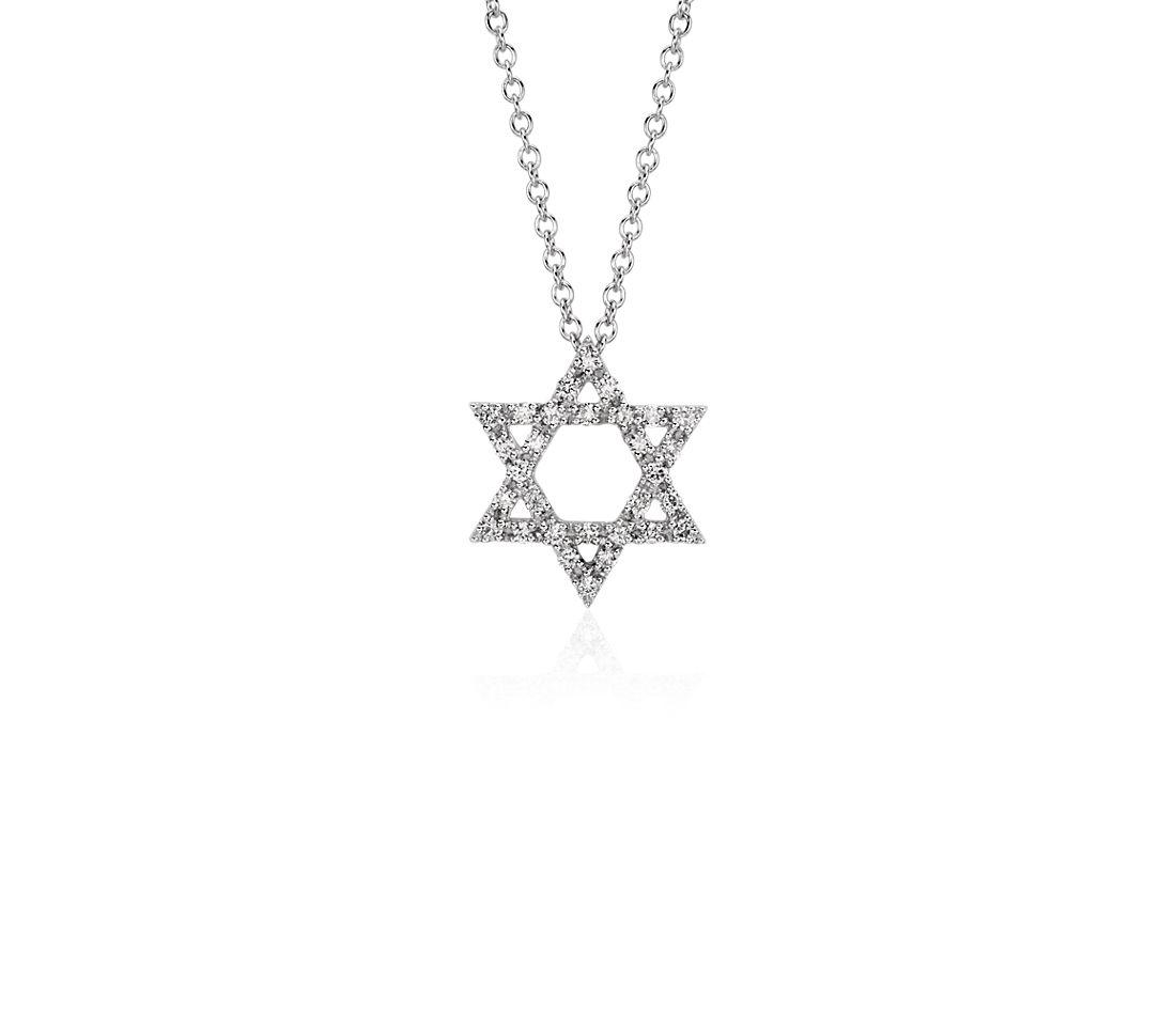 Star of David Diamond Pendant in 14k White Gold