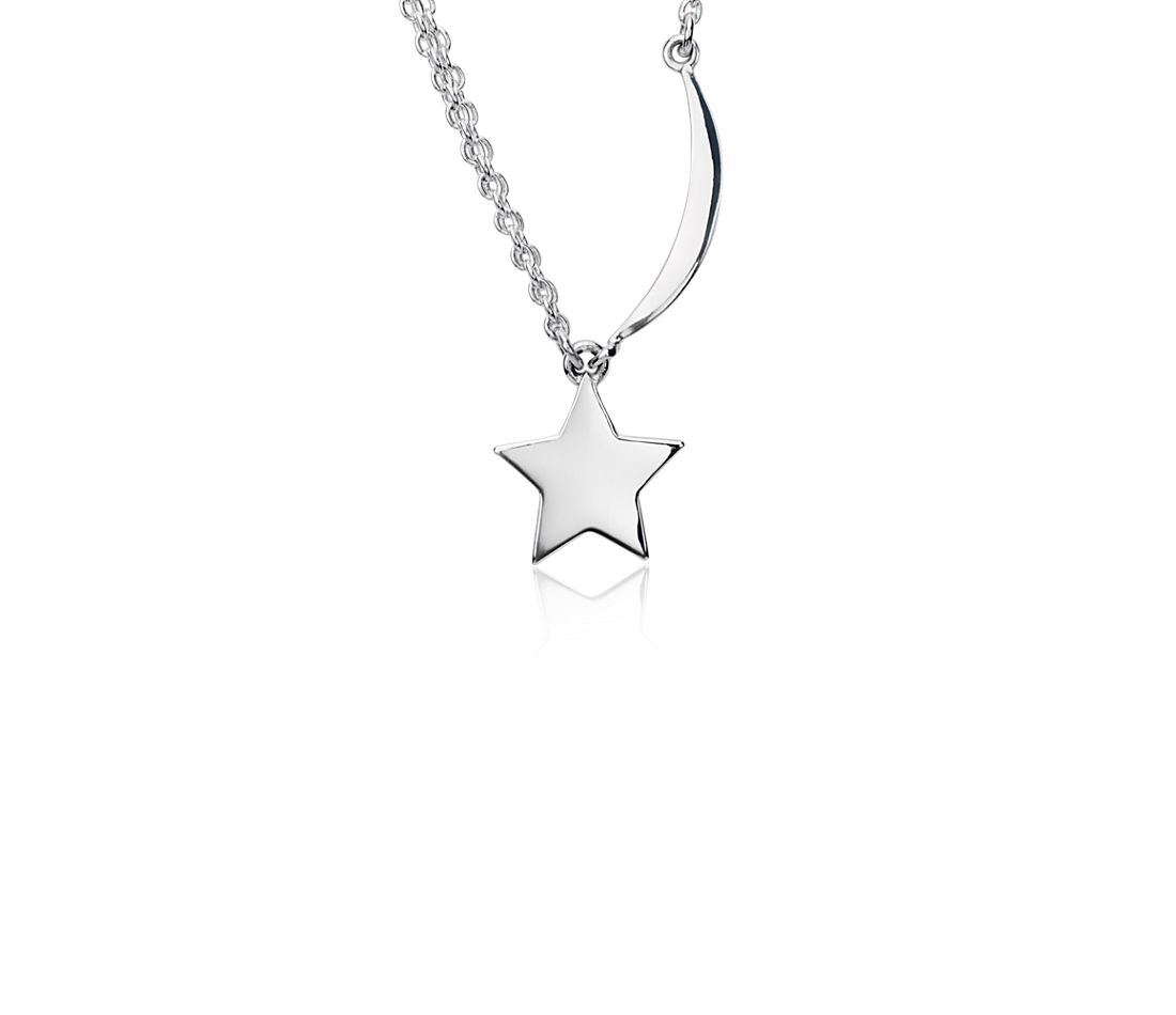 Mini Star and Moon Pendant in Sterling Silver