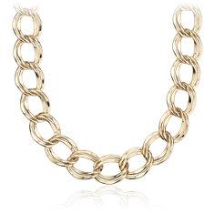 Collar de eslabones llamativo en plata bañada en oro amarillo de 18k