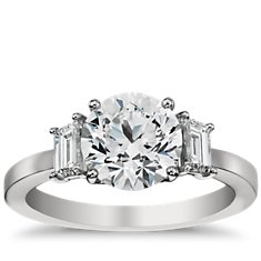 Step Cut Trapezoid Diamond Engagement Ring in Platinum