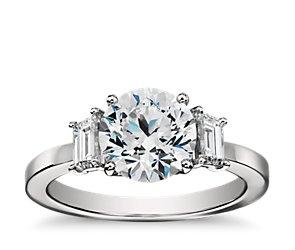 Step Cut Trapezoid Diamond Engagement Ring in Platinum