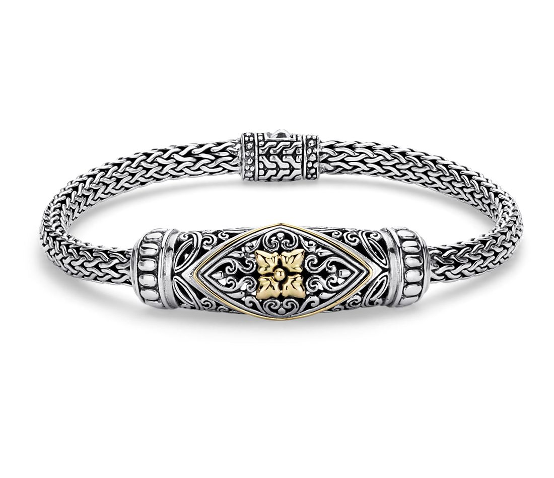 balinese rope bracelet in sterling silver and 18k yellow