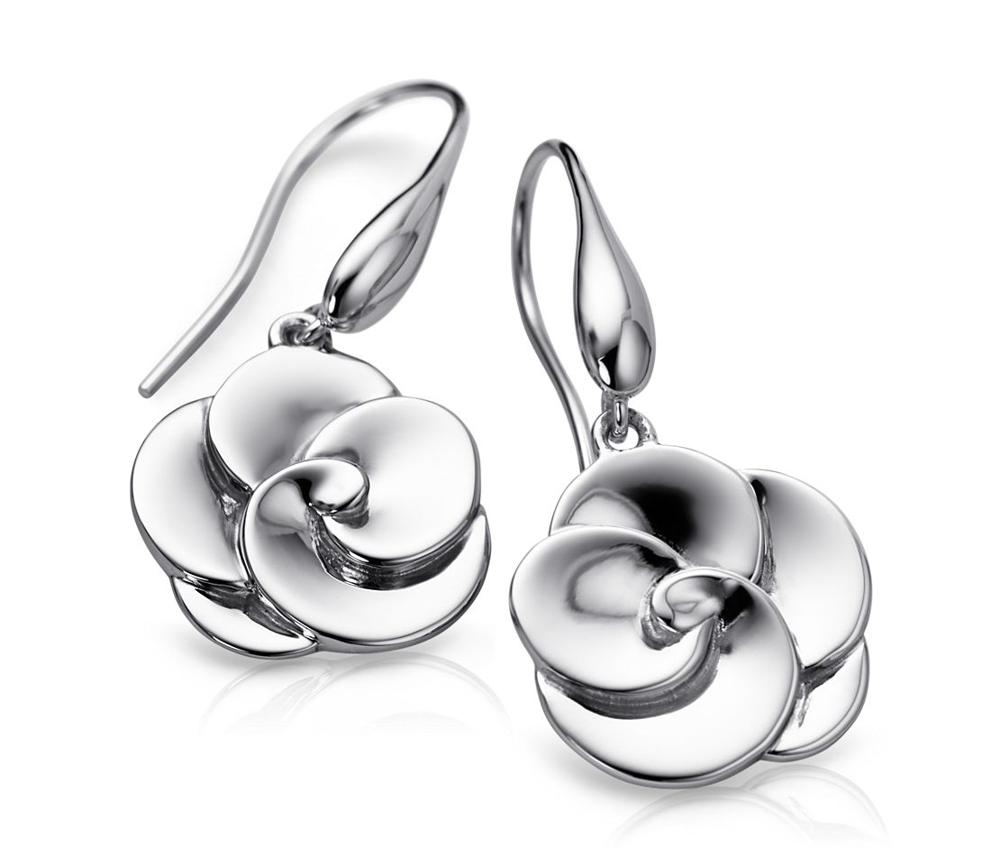 Abstract Flower Earrings in Sterling Silver