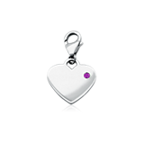 Amethyst Birthstone Heart Charm in Sterling Silver (February)