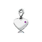 Amethyst Birthstone Heart Charm in Sterling Silver (February)
