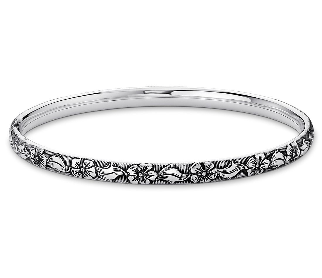 Antiqued Floral Bangle Bracelet in Sterling Silver