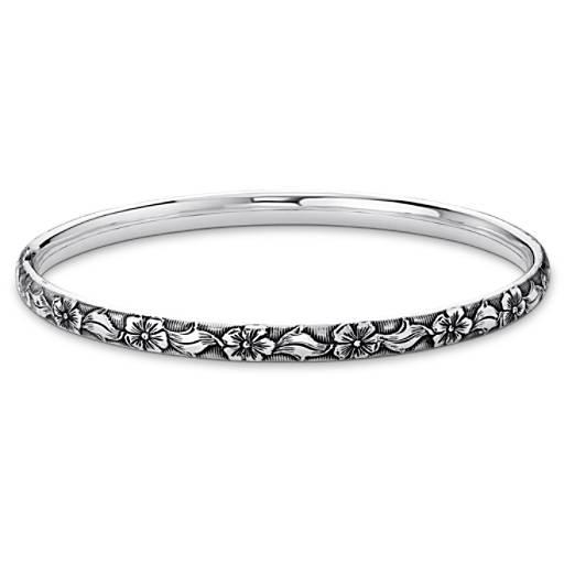 Antiqued Floral Bangle Bracelet in Sterling Silver