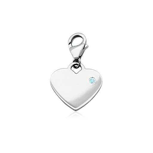 Aquamarine Birthstone Heart Charm in Sterling Silver (March)