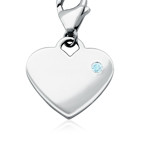Aquamarine Birthstone Heart Charm in Sterling Silver (March)